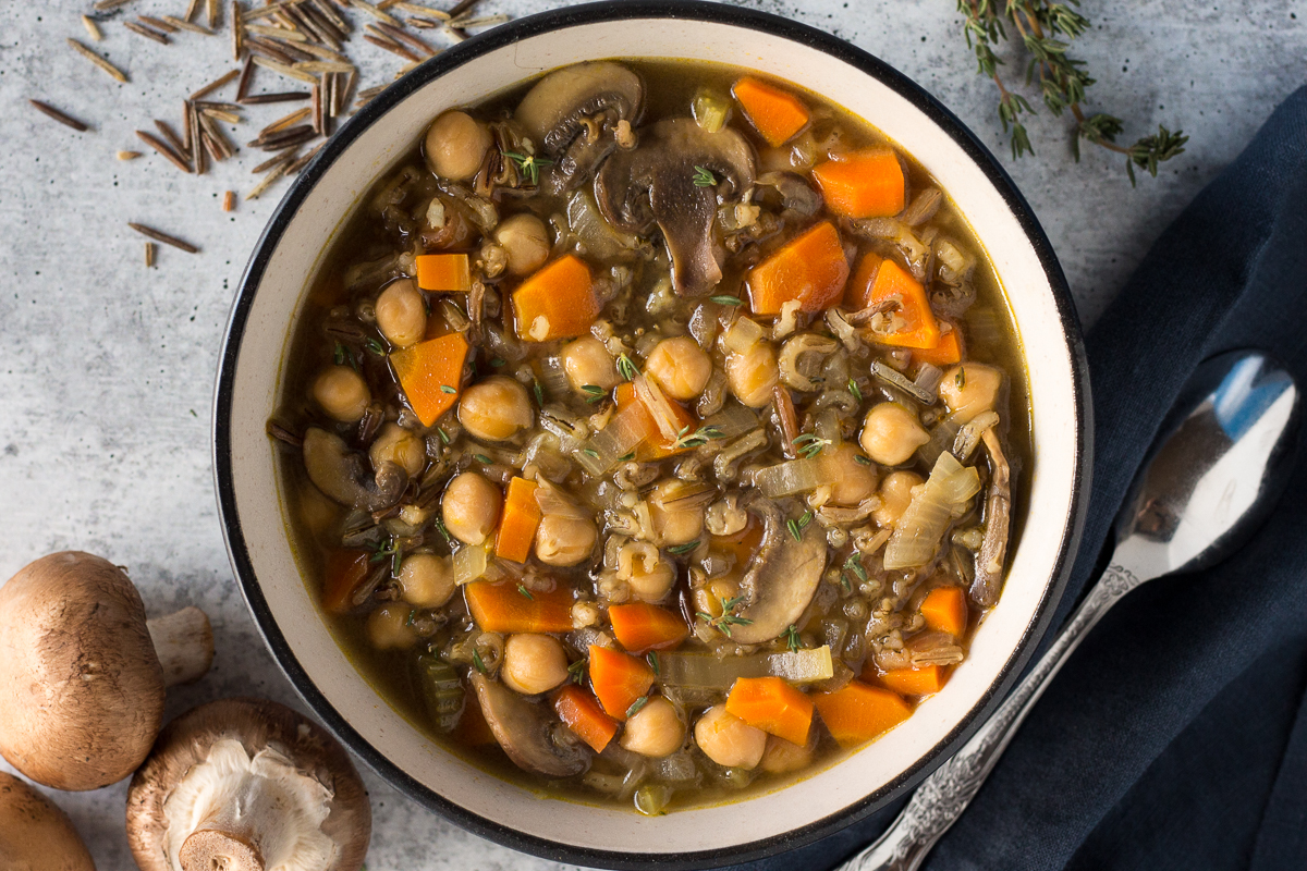 Chickpea & Wild Rice Soup by Flora & Vino