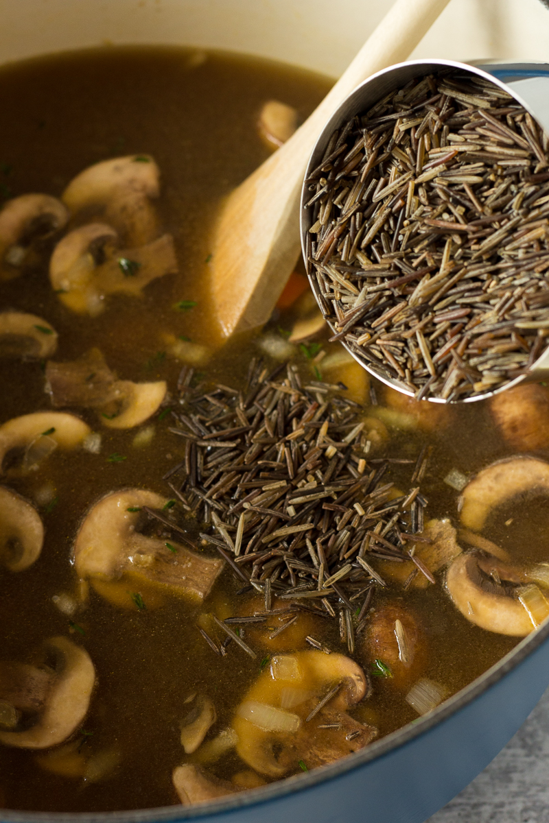 Chickpea & Wild Rice Soup process shot by Flora & Vino
