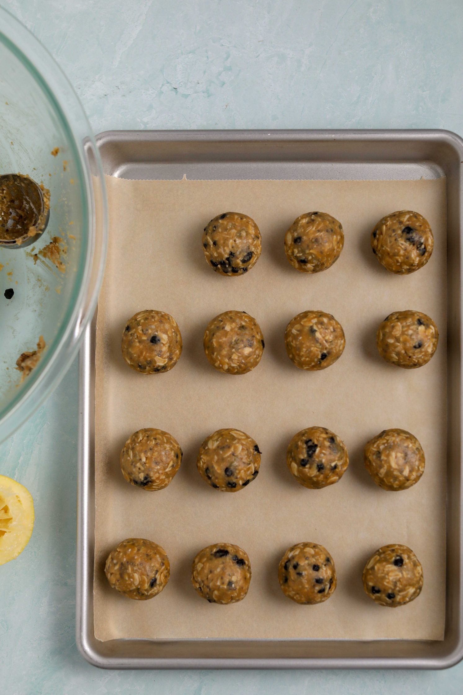 Blueberry Muffin Energy Balls process shot by Flora & Vino