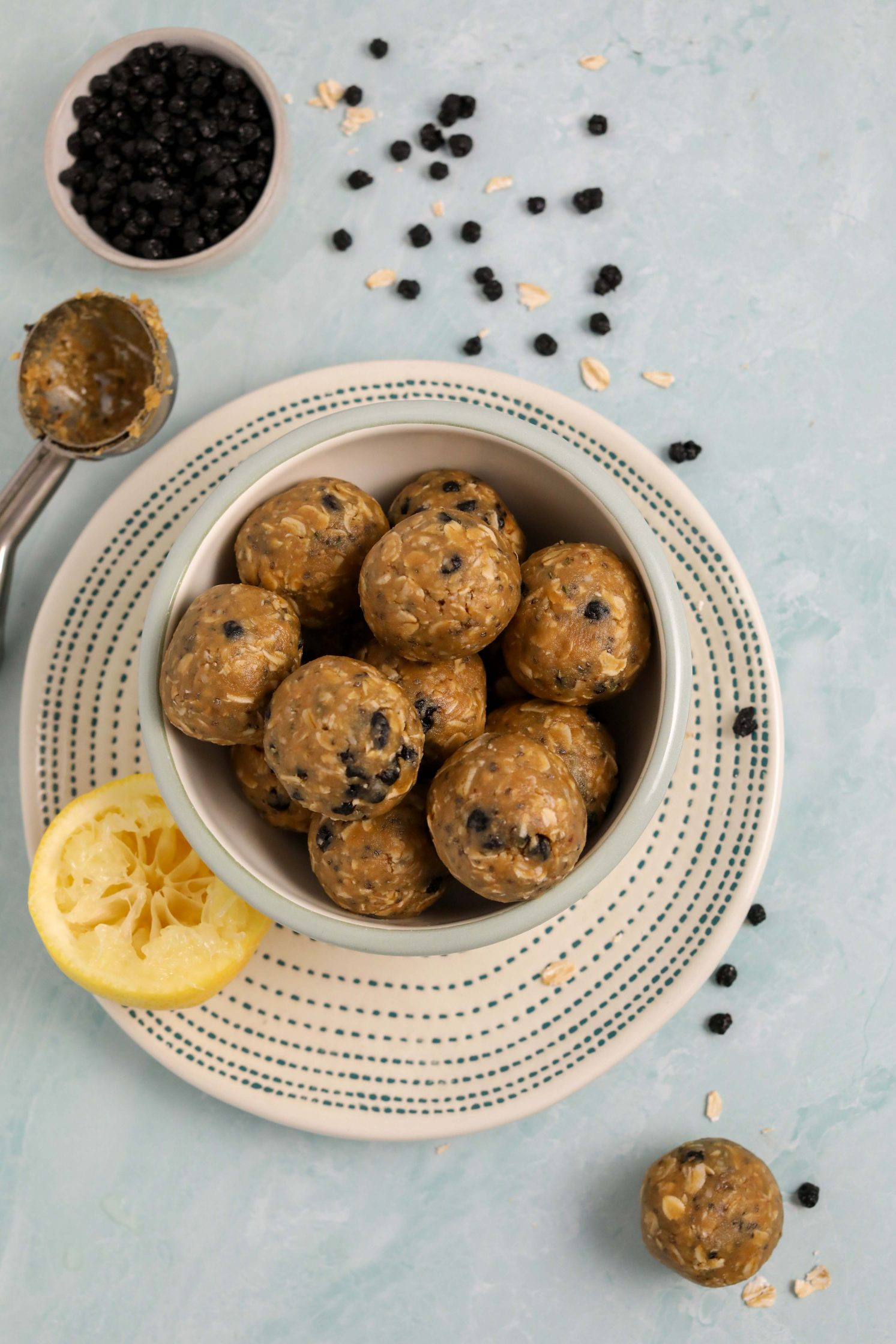 Blueberry Muffin Energy Balls by Flora & Vino